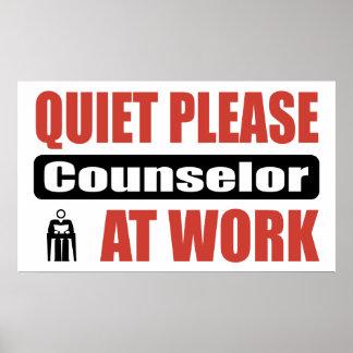 De la tranquilidad consejero por favor en el traba póster