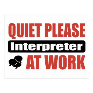 De la tranquilidad intérprete por favor en el postal