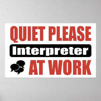 De la tranquilidad intérprete por favor en el trab póster