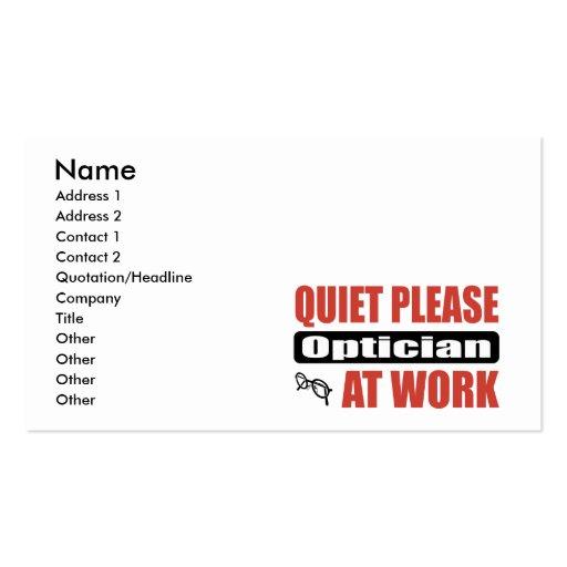 De la tranquilidad óptico por favor en el trabajo tarjetas de visita