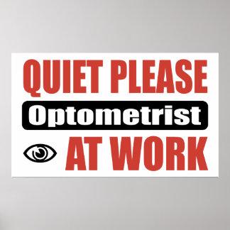De la tranquilidad optometrista por favor en el tr póster