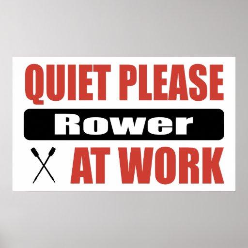 De la tranquilidad Rower por favor en el trabajo Póster