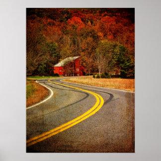 De largo y carretera con curvas impresiones