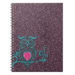 De las azules turquesas búho de moda lindo fresco  libros de apuntes