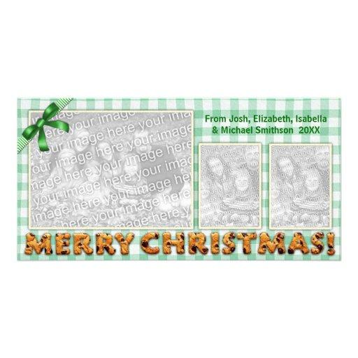 De las Felices Navidad de las galletas de la tela  Tarjeta Personal Con Foto