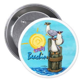 De las gaviotas botón del beachin totalmente pin redondo de 3 pulgadas