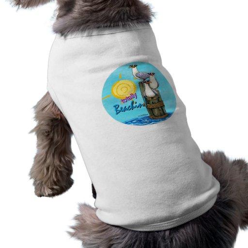 De las gaviotas camiseta del perro del beachin tot playera sin mangas para perro