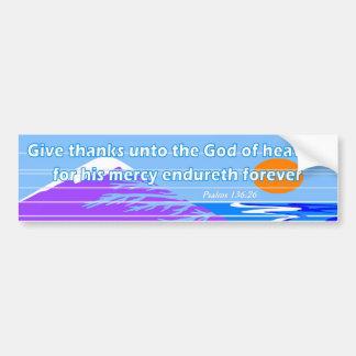 Dé las gracias a dios del verso de la biblia del c etiqueta de parachoque