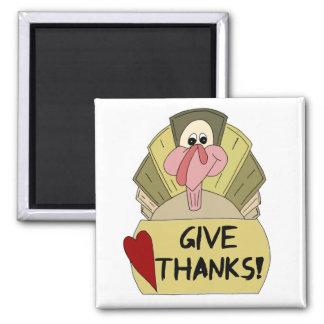 Dé las gracias - dibujo animado remilgado Turquía Imán Cuadrado