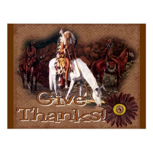 dé las gracias indias tarjeta postal