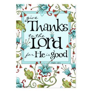 Dé las gracias - tarjetas de la escritura tarjetas de visita grandes