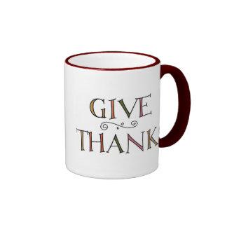 Dé las gracias taza de dos colores