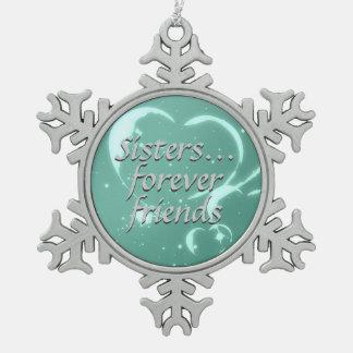 De las hermanas corazones verdes de la aguamarina adorno de peltre en forma de copo de nieve