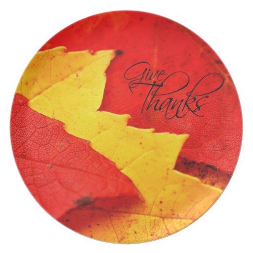 Dé las hojas de otoño de las gracias plato de comida