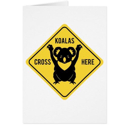 De las koalas de la cruz tarjeta de felicitación a