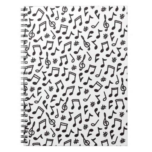 De las notas musicales del negro del blanco modelo libro de apuntes con espiral