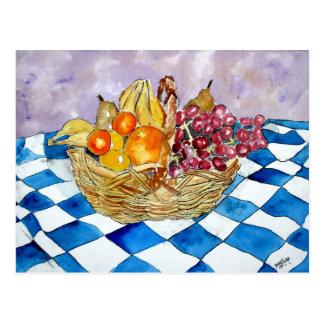 de las postales de fruta todavía de la cesta posta