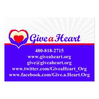 Dé las tarjetas de una caridad del corazón tarjetas de visita grandes