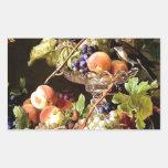 De las uvas de la fruta todavía del pájaro pintura rectangular pegatina
