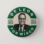 """De Leon for Wisco vintage style campaign button<br><div class=""""desc"""">Like nostalgia? Nick does too and has a vintage 20th century style campaign button. The design features an off-white and forest green color scheme,  black and white portrait of our candidate Nick De Leon,  and simulated smudges,  marks and running ink for realism.</div>"""