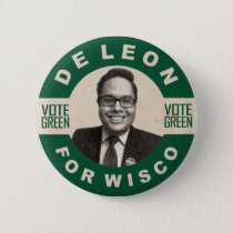 De Leon for Wisco vintage style campaign button
