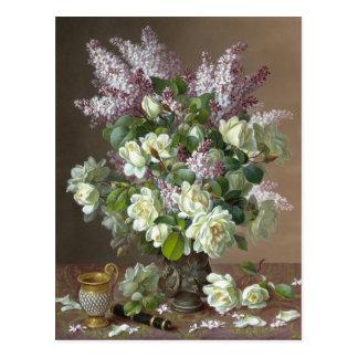 De Longpré Roses and Lilacs CC0600 Flower Postcard