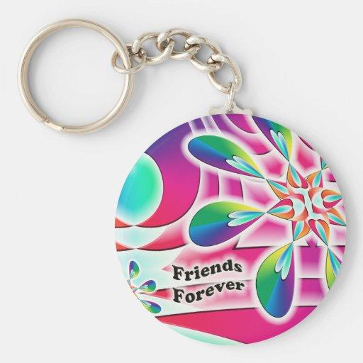 De los amigos flor del corazón del arco iris para llavero redondo tipo pin