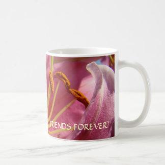 De los AMIGOS flores del lirio del rosa de la taza