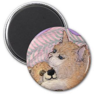 De los amigos oso de los abrazos del gato para sie imán redondo 5 cm