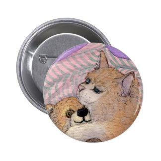 De los amigos oso de los abrazos del gato para sie pin redondo 5 cm