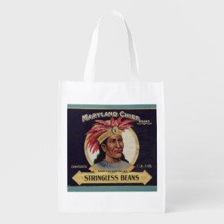 de los años 30 principal Stringless etiqueta de Bolsa Para La Compra