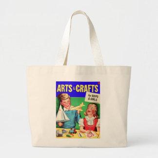 De los artes del niño del vintage del kitsch libro bolsa tela grande