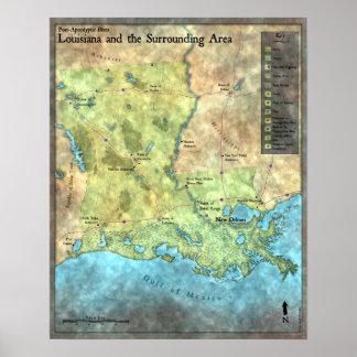 De los azules mapa Poste-Apocalíptico por tierra Posters