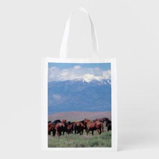 De los caballos bolso de ultramarinos reutilizable bolsa de la compra