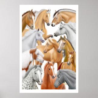 De los caballos impresión a montones póster