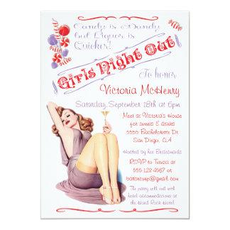 De los chicas de la noche Pin del caramelo y de Invitación 12,7 X 17,8 Cm