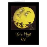 De los chicas de la noche tarjeta de Halloween hac