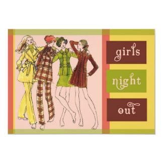 """De los chicas de la noche vintage 70s hacia fuera invitación 5"""" x 7"""""""