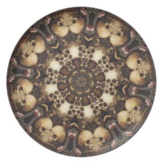 De los cráneos placa en abundancia plato para fiesta