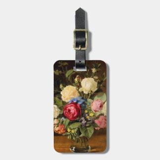 """De los """"etiqueta antigua del equipaje rosas del etiquetas para maletas"""
