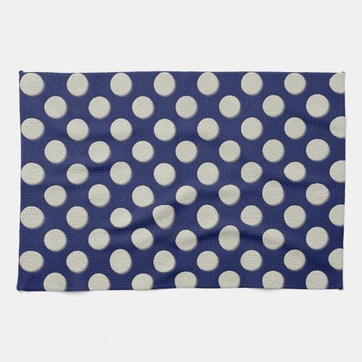 De los lunares blancos en textura del cuero de los toalla de cocina