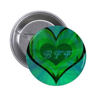 De los mejores amigos corazón verde para siempre pin redondo de 2 pulgadas