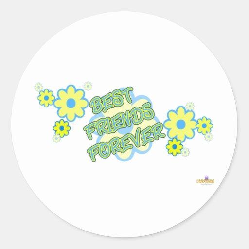 De los mejores amigos flores amarillas azules para pegatina redonda