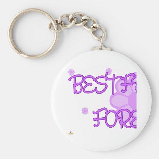 De los mejores amigos parte púrpura 1 de Lt Flower Llavero Redondo Tipo Pin
