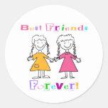 De los mejores amigos pegatinas para siempre etiqueta redonda