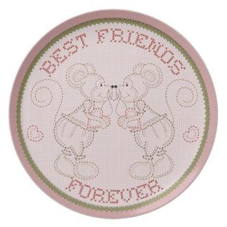 De los mejores amigos placa cosida país de los rat platos de comidas