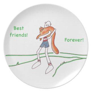 De los mejores amigos placa de la melamina para platos de comidas
