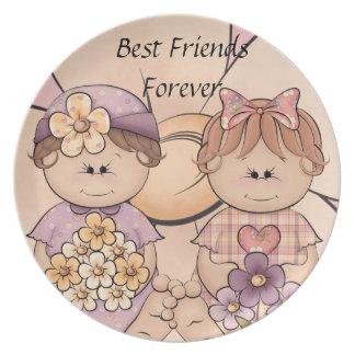 De los mejores amigos placa mimosa de los bebés pa plato de cena