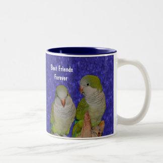 De los mejores amigos taza linda del pájaro para s