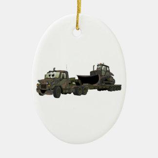 De los militares dibujo animado del plano de la adorno navideño ovalado de cerámica